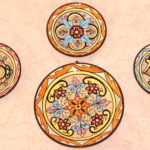 Lot Of 4 Decorative Bright Colored Wall Plates With Floral Design Hand Painted In Spain