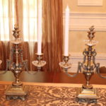 Pair Of Heavy Brass 3 Arm Candelabras With Removable Finial