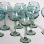 Lot Of 8 Thick Mixed Size Hand Blown Wine Glasses With Blueish Green Tint