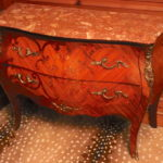 Louis XV Style Italian Inlay Bombay Chest With Bronze Ormolu Mounts, Floral Wood Inlay Design And Marble