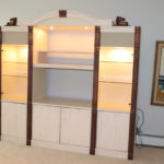 Large Entertainment Unit With Fluted Columns, Glass Cabinets And Lights