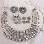 Women's Jewelry Lot Includes Beaded Necklace With Rhinestones, Earrings And Shoe Clips