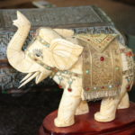 Carved Elephant With Stones With Decorative Box