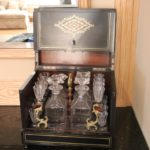 Antique Traveling Bar Set In Highly Detailed Wooden Case With Inlay Brass & Mother Of Pearl