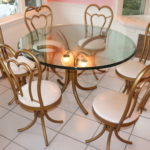 Custom Made Beveled Thick Glass Table With 6 Cast Aluminum Heart Shaped Back Chairs